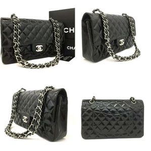 CHANEL Bags - CHANEL 2.55 Classic Medium Quilted Black Patent Le